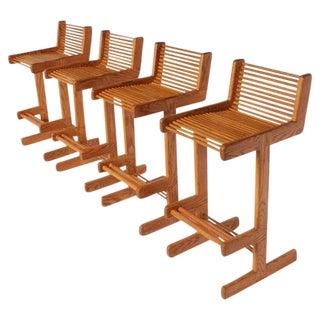 Mid-Century Wood Bar Stools- Set of 4