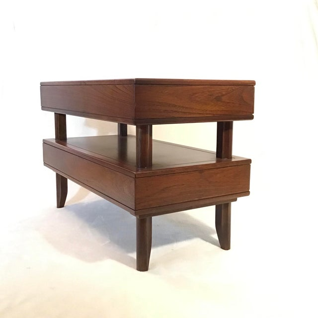 Mid Century Modern Walnut Stacked Style End Table For Sale In Greenville, SC - Image 6 of 13