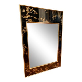 LaBarge Chinoiserie Style Black Eglomise Mirror For Sale