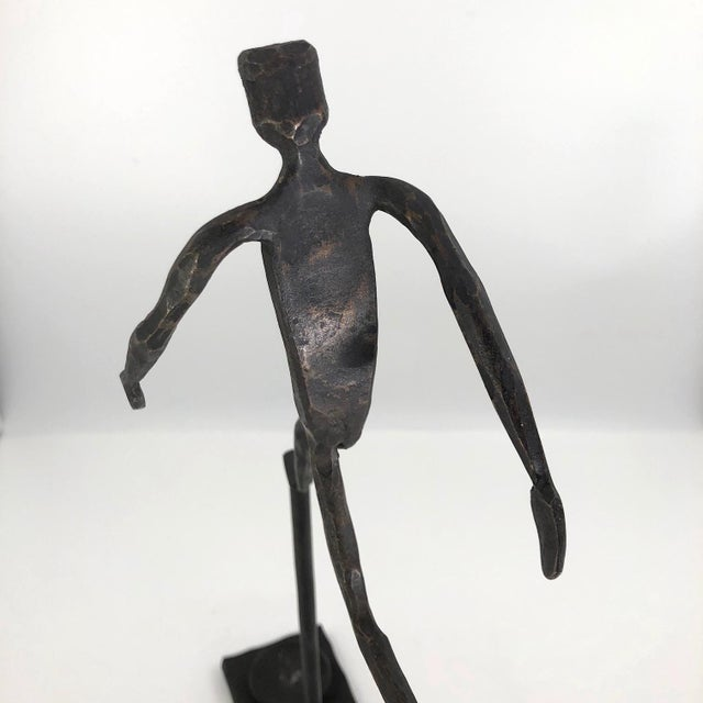 Running Man Welded Steel Sculpture With Candle Holder For Sale In Boston - Image 6 of 13