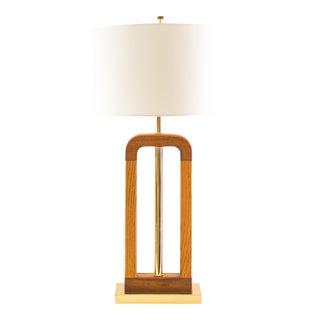 Large Modern Table Lamp, Wood, Brass, Geometric 70's Bohemian