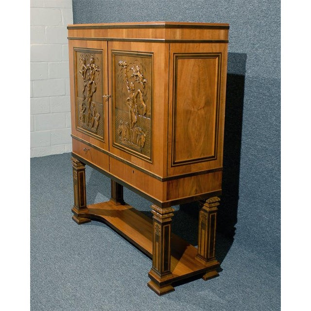 Swedish Art Deco Neoclassical Carved Armoire Cabinet For Sale - Image 9 of 10