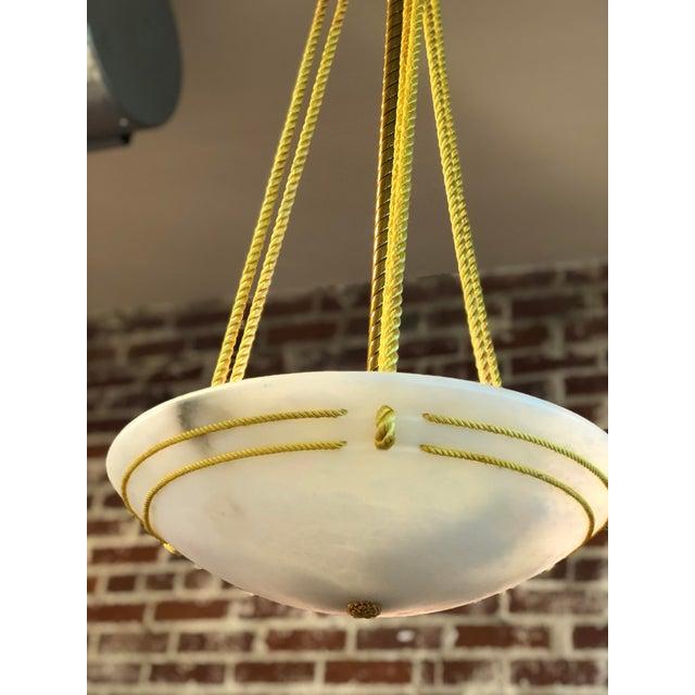 Art Deco Style Alabaster Chandelier For Sale - Image 4 of 7