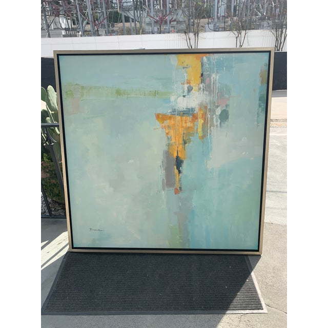 Original Abstract Oil on Canvas in Floating Silver Gilt Frame For Sale - Image 12 of 12
