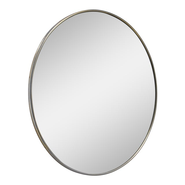 Large and round brass wall mirror, Germany, 1950s For Sale