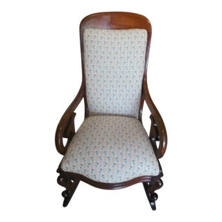 Late 19th Century Victorian Mahogany Brown Rocking Chair