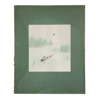 Early 20th Century Antique Japanese Man Fishing Signed Watercolor on Paper Painting For Sale