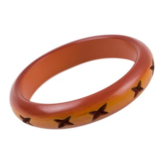 Bakelite Bracelet Bangle Deep Cross Carved Butterscotch and Amber Color For Sale