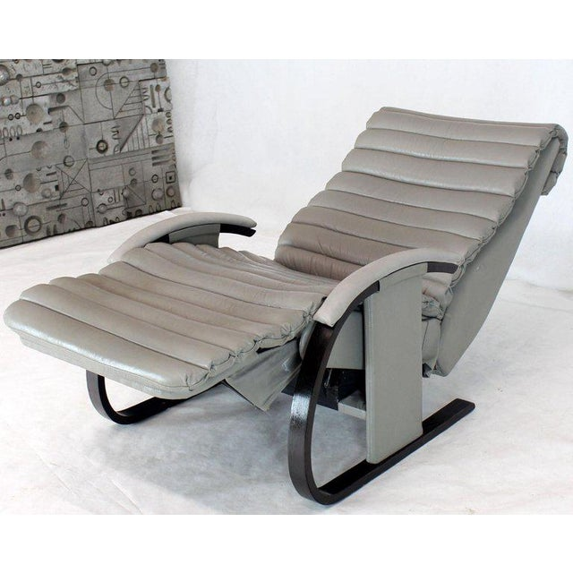 Pair of Leather Ribbed Upholstery Reclining Lounge Chairs Bent Wood Tank Style For Sale - Image 10 of 13
