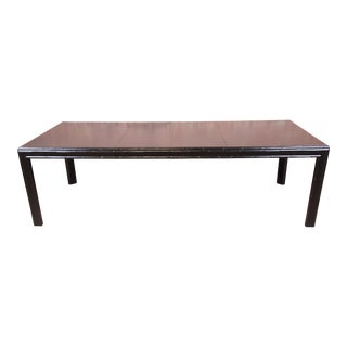 Hollywood Regency Chinoiserie Faux Bamboo Black Lacquered Extension Dining Table, Newly Refinished For Sale