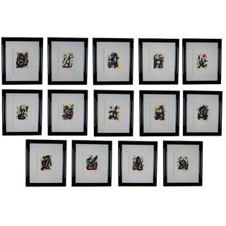 1980s Joan Miro La Melodie Acide Suite Original Lithographs - Set of 14 For Sale