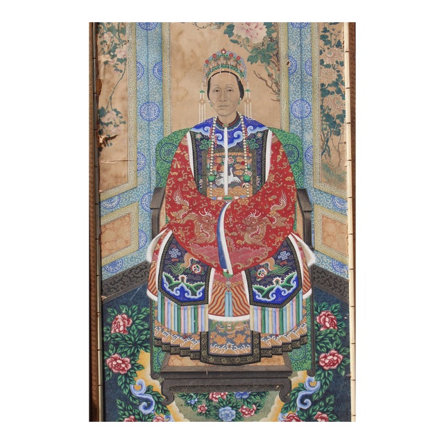 Late Ching Chinese Court Lady Painting For Sale