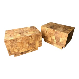 Milo Baughman Style Faux Burl Wood Rectangular End Tables A For Sale