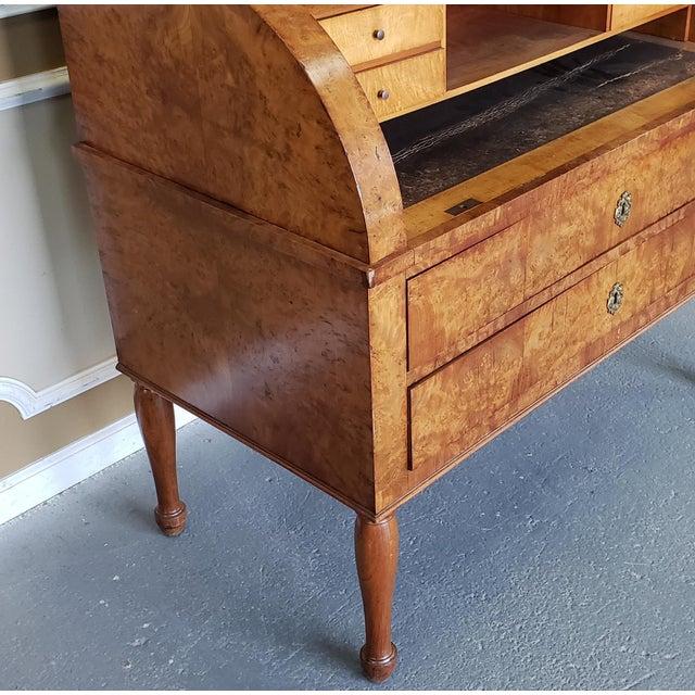 Restored Antique 19th Century Burled Elm Roll Top Cylinder Desk C1860 For Sale - Image 10 of 13