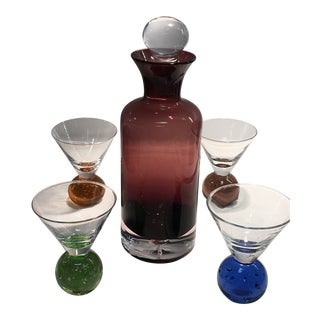Vintage Mid-Century Modern Controlled Bubble Paperweight Base Glass & Decanter Set of 5 For Sale