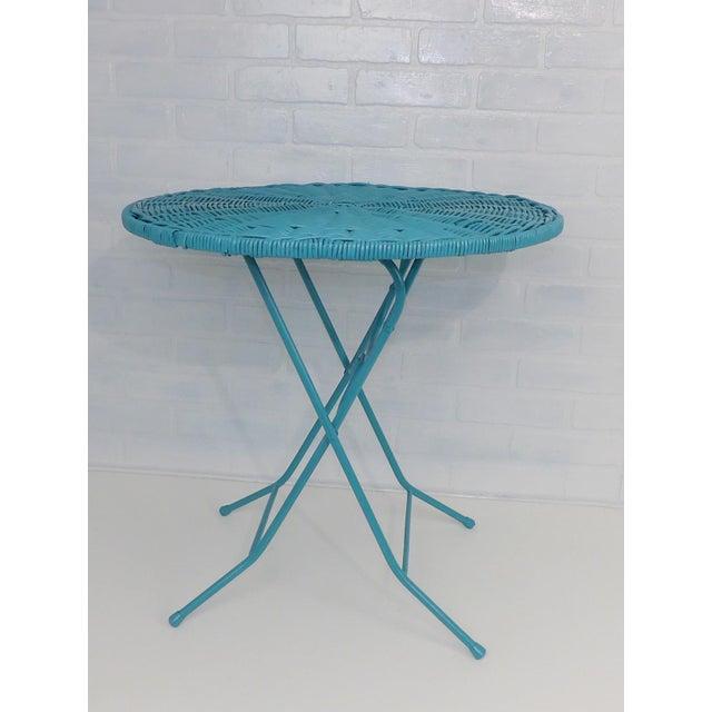 Vintage Teal Folding Wicker Tilt Top Table - Image 6 of 9