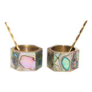 Vintage Abalone & Silver Salt & Pepper Cellars With Spoons - Set of 4