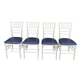 Set of Four Classic White Wooden Chiavari Chairs With Navy Seats For Sale