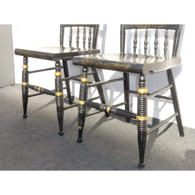 Black Vintage Spindle Back Windsor Chairs - A Pair - Image 8 of 11