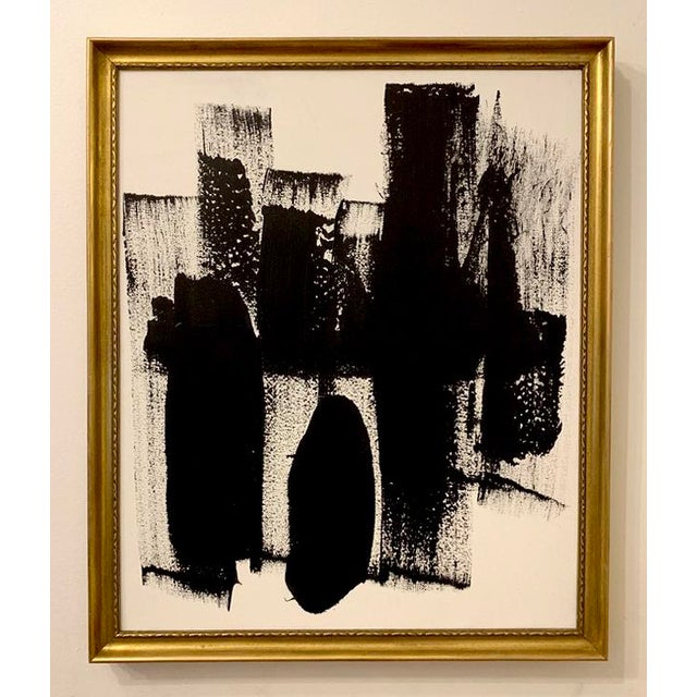 2010s Original Abstract Black and White Framed Painting For Sale - Image 5 of 5