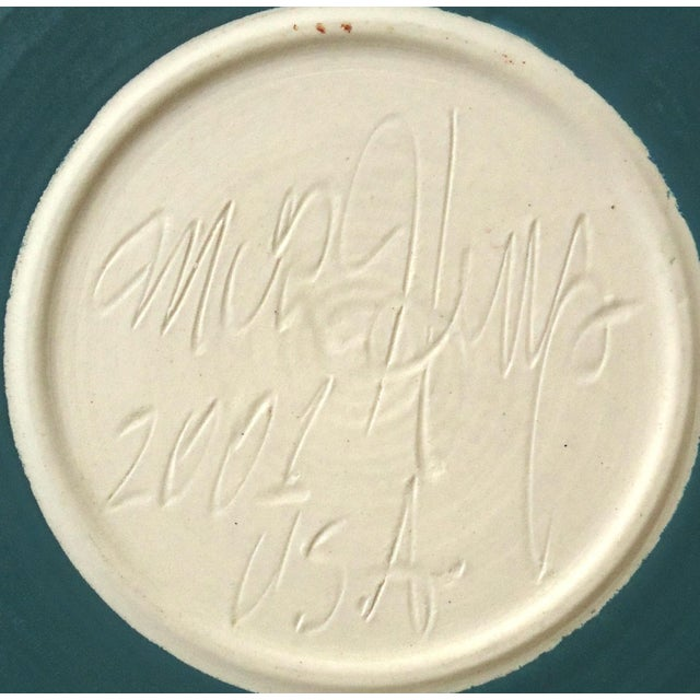2000 - 2009 Organic Modern Moon Over Seascape Studio Green Pottery Platter For Sale - Image 5 of 6