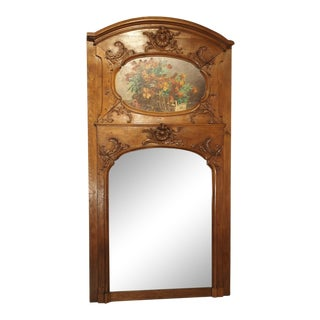 19th Century Oak Louis XV Style Trumeau Mirror For Sale