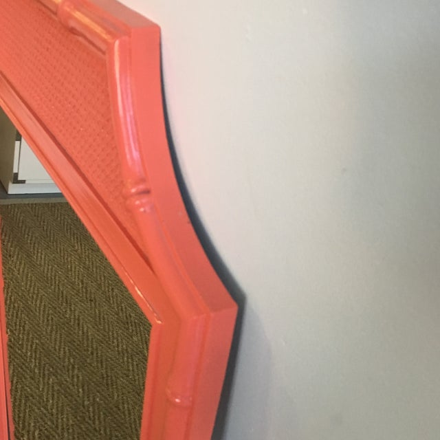 Orange Vintage Coral Faux Bamboo Pagoda Style Mirror For Sale - Image 8 of 10
