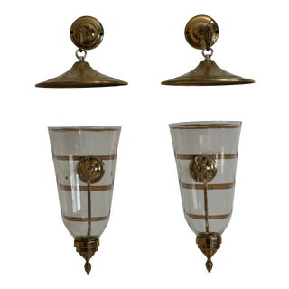 Pair Virginia Metalcrafters Colonial Williamsburg Candle Sconces With Hoods For Sale
