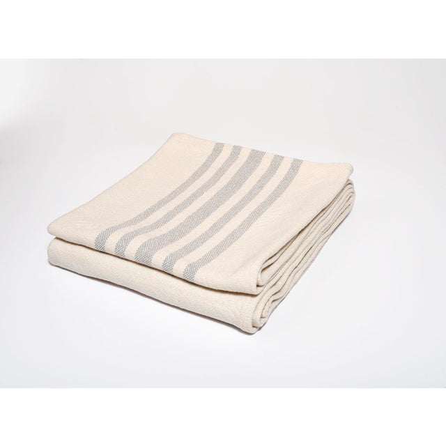 Contemporary Contemporary Cotton Grey Stripe Throw For Sale - Image 3 of 3