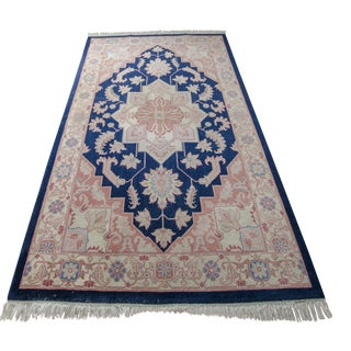 Handmade Traditional Blue and Pink Wool Rug - 6' x 9'