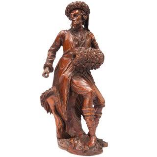 19th Century Antique Northern European Carved Limewood Gentleman Figurine For Sale