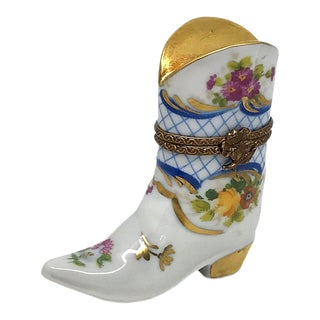 Limoges Box, Hand Decorated Boots For Sale