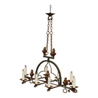 Late 19th Century French Gothic Wrought Iron Eight-Light Chandelier For Sale