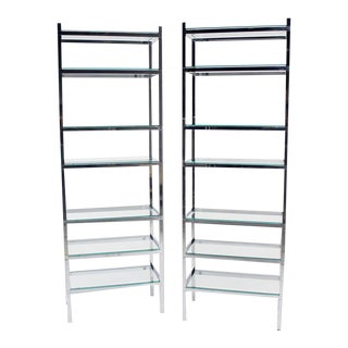 Mid-Century Modern Tall and Narrow Chrome & Glass Etageres - a Pair For Sale