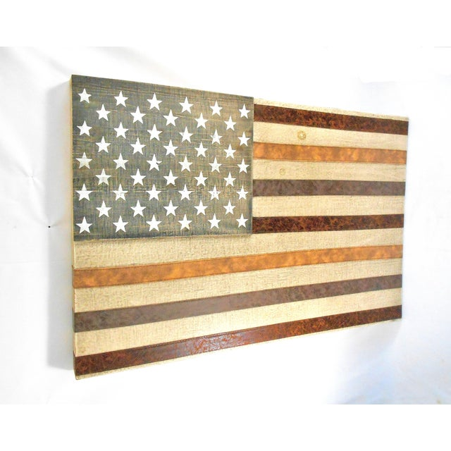 Large Rustic Wood & Leather American Flag Wall Art - Image 7 of 9