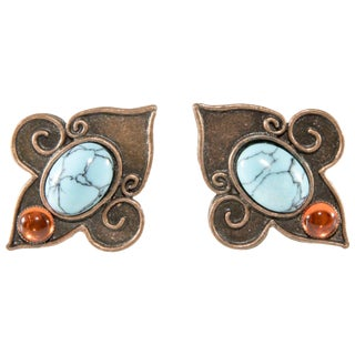 Philippe Ferrandis Earrings Faux Turquoise Orange Glass Cabochons Fleur De Lis For Sale