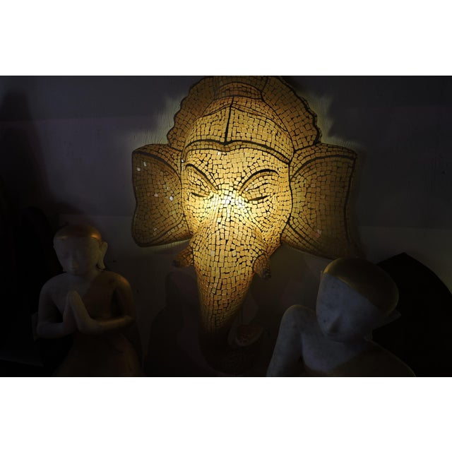 Anglo-Indian Mosaic Inlaid Glass Ganesh Lamp For Sale - Image 3 of 5