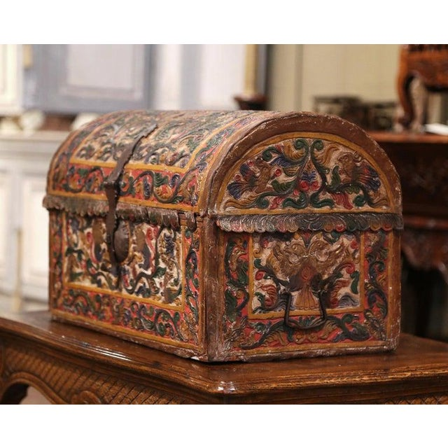 Metal 18th Century German Gothic Painted Decorative Bombe Box Wedding Trunk For Sale - Image 7 of 13