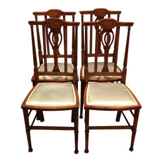 Antique Chairs With Inlay and Silk Seats- Set of 4 For Sale