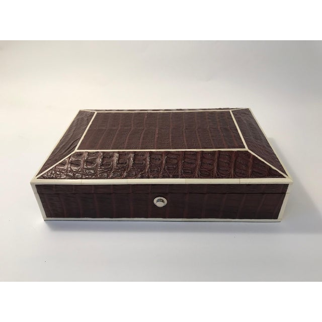 Bone Inlay Brown Crocodile Box For Sale - Image 10 of 10