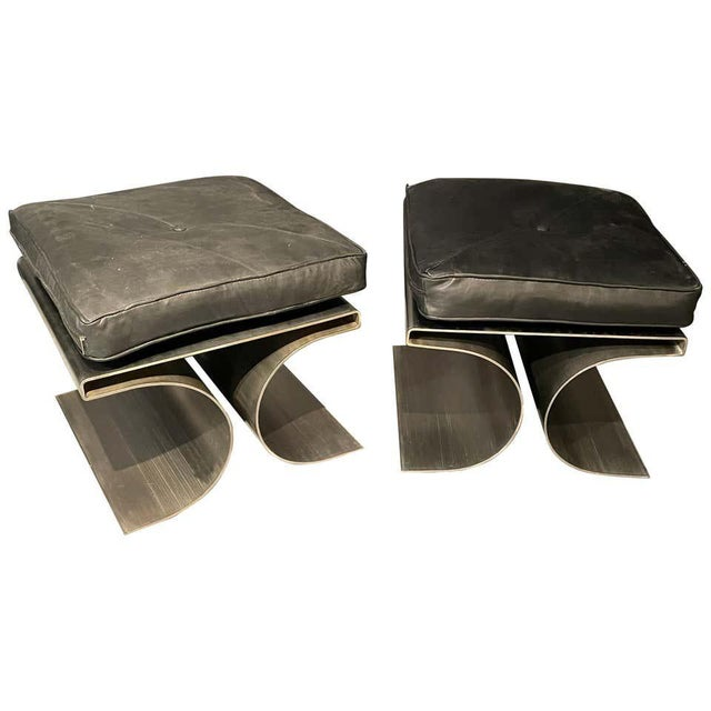 Pair of François Monnet attributed Benches in a brushed stainless steel with a black leather cushion. These impressive mid...
