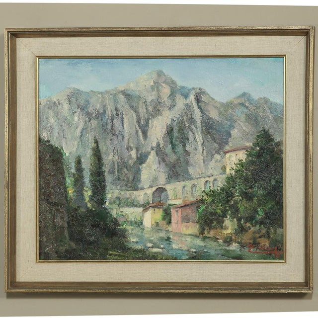 Mid- Century Original Painting on Canvas of Italian Alps by Joseph Tilleux of Antwerp (1896-1978 ) Framed in gilded wood...