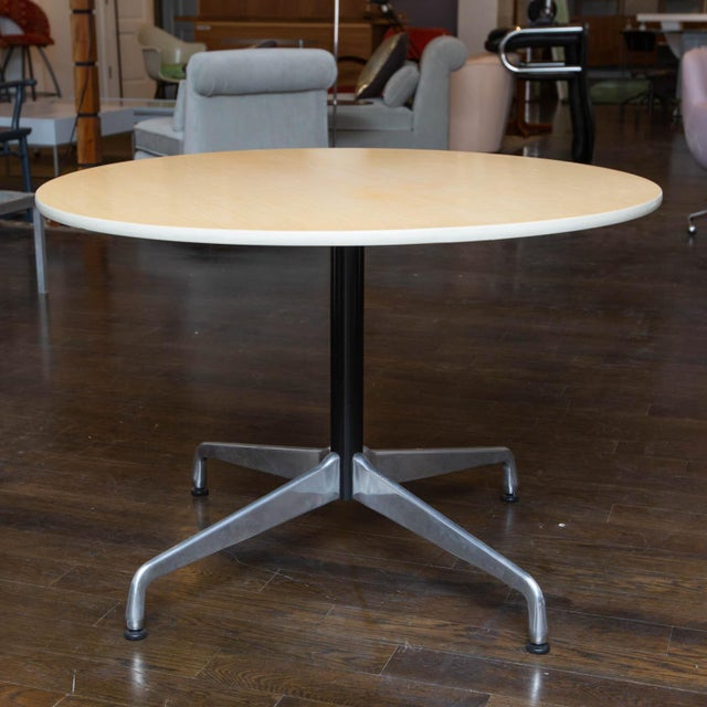 White Herman Miller Round Aluminum Group Table For Sale - Image 8 of 8