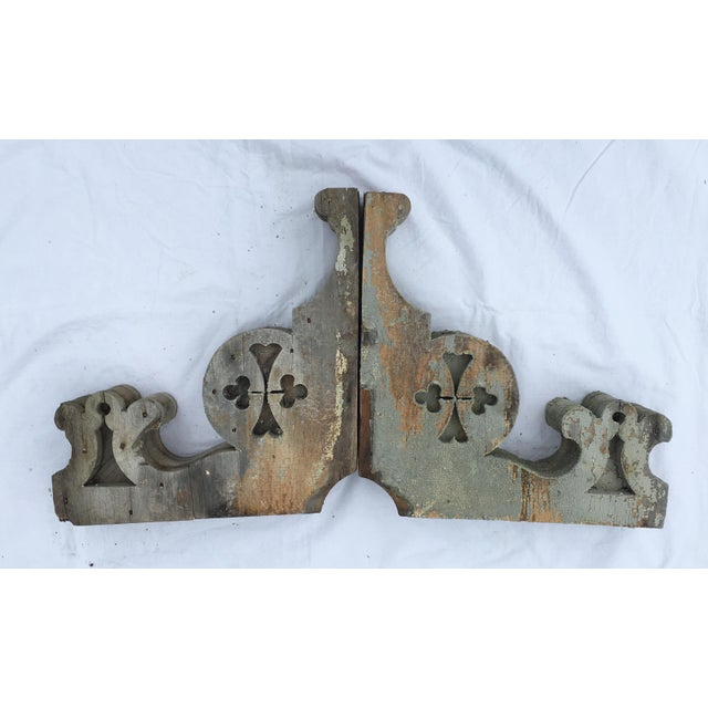 Country Weathered Wooden Corbels - A Pair For Sale - Image 3 of 6