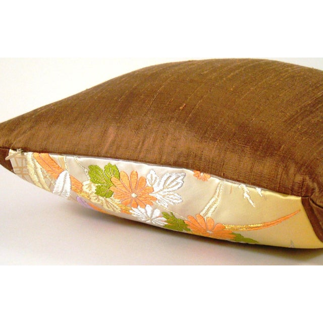 2010s Japanese Obi Yellow Ombre Streamside Floral Lumbar Pillow Cover For Sale - Image 5 of 7
