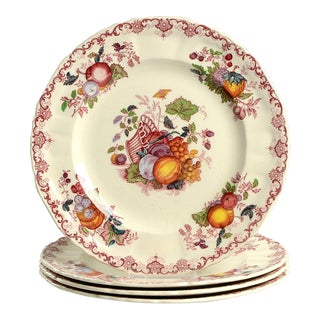 1960s Mason's Fruit Basket Red Multicolor Luncheon Plates - Set of 4 For Sale