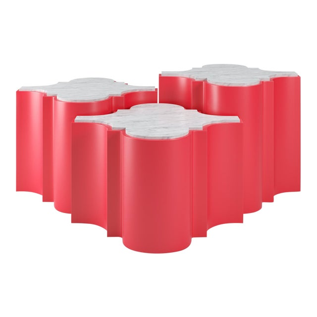 Sofia Nesting Tables, Set of 3 - Bull's Eye Red For Sale