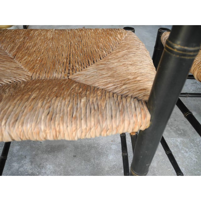 Set of Four Faux Bamboo Wood and Rush Decorative Chairs For Sale In New York - Image 6 of 7