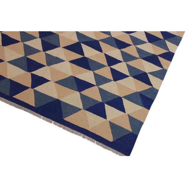 Abstract Retro Kilim Blue Hand-Woven Wool Rug - 6′4″ × 8′9″ For Sale - Image 3 of 8