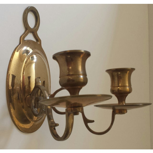Traditional Vintage 2 Candle Brass Sconce For Sale - Image 3 of 9